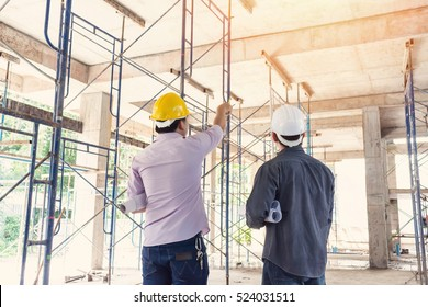 two business man construction site engineer