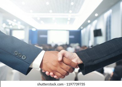 Two Business Man Shakehand with Office  background, concepts Team Partner Business Team