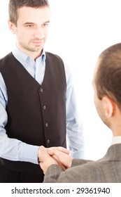 Two business men handshaking, isolated on white