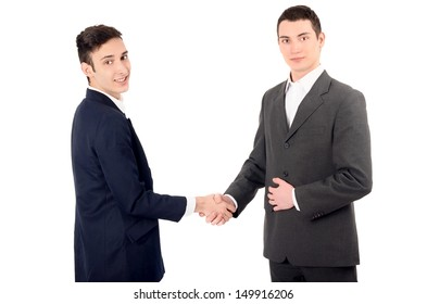 Two business men shaking hands. Successful partnership made. Isolated on white background.