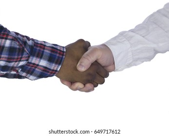 Two business men shaking hands in agreement or success; isolated on white background
