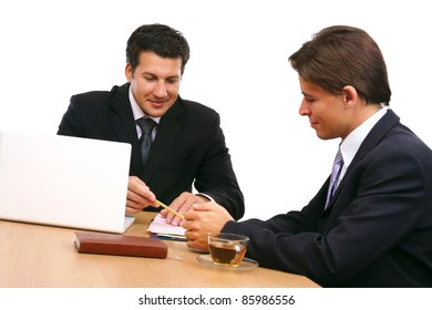 Two business partners signing contract isolated