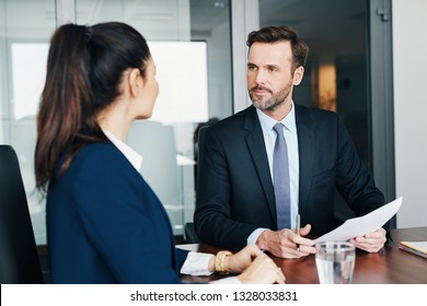 Two business people during job interview, assesment