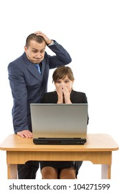 two business people having problems at work isolated on a white background