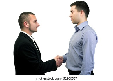 Two business people holding each other's hands