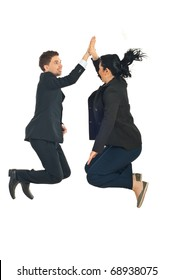 Two business people jumping and giving high five in the air isolated on white background