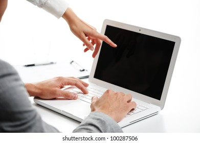 two business peoples at working on laptop