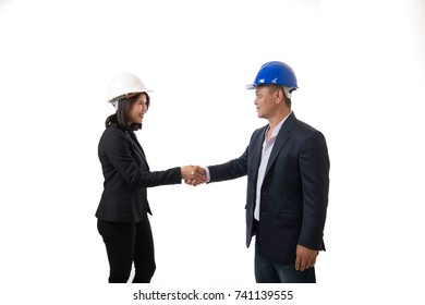 Two business shaking hands. Of an agreement to cooperate in business isolated on white background.