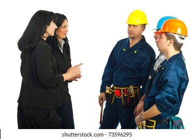 Two business women having conversation with workers team  isolated on white background
