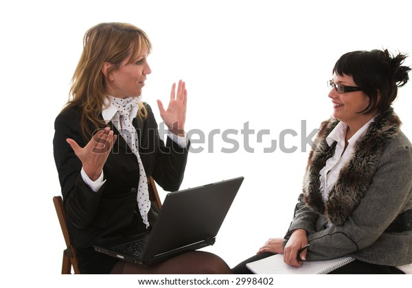 Two business women sitting together with one having a laptop, discussing business