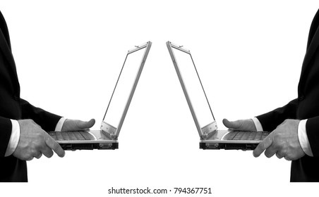 Two businessman cooperating on computers in job isolated white background. Black and white mirror reflection photo.