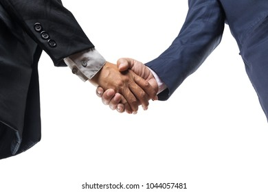 Two Businessman Executive hand shaking over white Background as Teamwork or Business Partnership Concept.