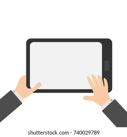 Two businessman hands holding genering tablet PC gadget. Searching concept. Male female teen hand and black Tab with blank screen. Empty space template for text. Flat design. White background.