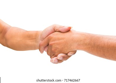 two businessman are holding hands select focus with shallow depth of field. isolated on white background and clipping path