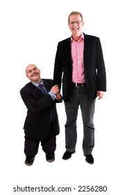Two businessman standing against white background; one being very small, the other being very tall