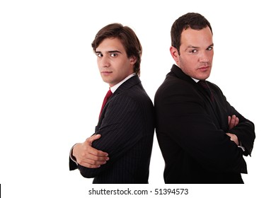 two businessman standing back to back, isolated on white background