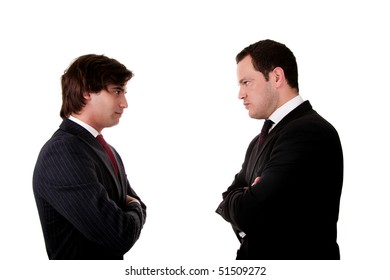 two businessman standing face to face, isolated  on white background. Studio shot