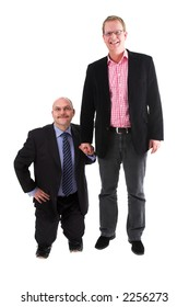 Two businessman standing on white background. one very small man and a very tall man