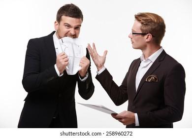 two businessmen arguing