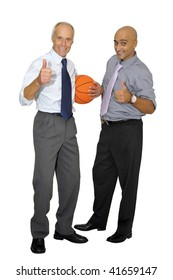Two businessmen with a basketball isolated in white
