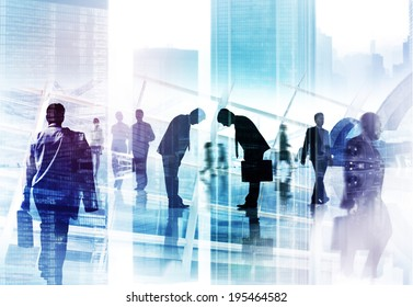 Two Businessmen Bowing and Business People