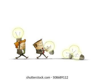 Two businessmen bringing bulbs in one heap. isolated, white background