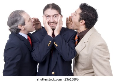 two businessmen cry out and another with hands in ears