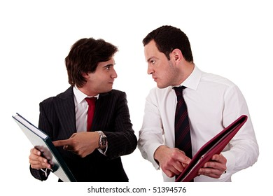 two businessmen discussing because of work, pointing to a document, isolated on white background
