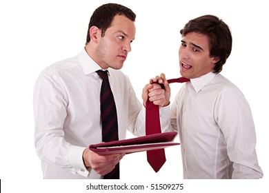 two businessmen discussing because of work, pointing to a document and pull the tie, isolated  on white background. Studio shot