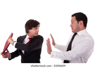 two businessmen discussing because of work, very stressed, isolated on white background. Studio shot.