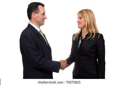 Two businessmen hands handshake isolated on white background. Studio work.