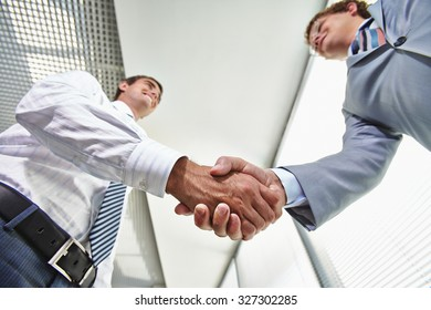 Two businessmen handshaking after signing contract