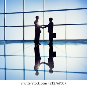 Two Businessmen Handshaking in the Office