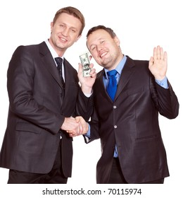 Two businessmen have a deal about money