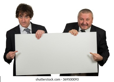 two businessmen holding a big blank sign  isolated on white background