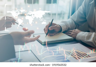Two businessmen are negotiating an international trade deal for a business deal, a business analysis, a modern technology concept.