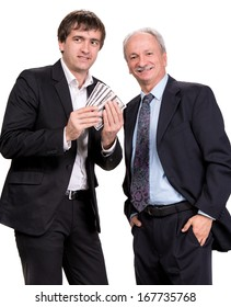 Two businessmen on a white background