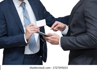 Two businessmen order online product from mobile phone together on white background; cooperation business with partnership