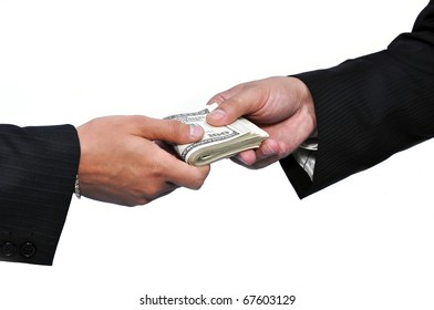 Two businessmen and paying money, horizontal shot.