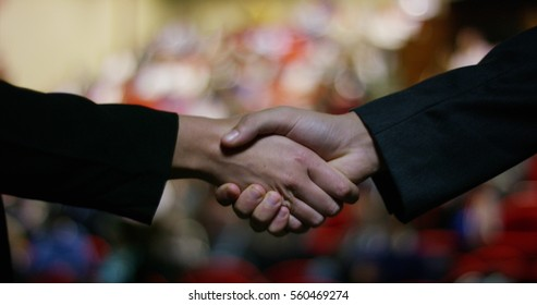 Two businessmen or politicians, elegant clothes, shake hands after finding a deal and successfully concluded the deal work. concept of business, politics, success, economy.