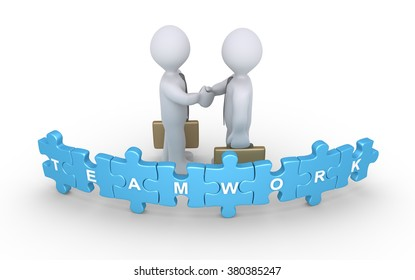 Two businessmen shake hands behind puzzle pieces with the word Teamwork