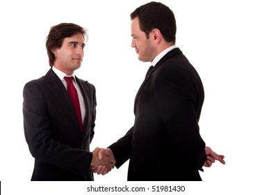 two businessmen shaking hands, and one businessman with his fingers crossed behind his back and smiling, isolated on white background. Studio shot.