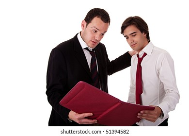 two businessmen talking about work, tired-looking, looking for a document, isolated on white background