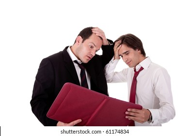 two businessmen talking about work, tired and worried, looking for a document, isolated on a white background
