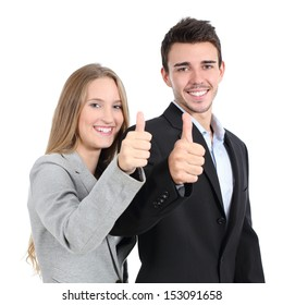 Two businesspeople agreement with thumb up isolated on a white background