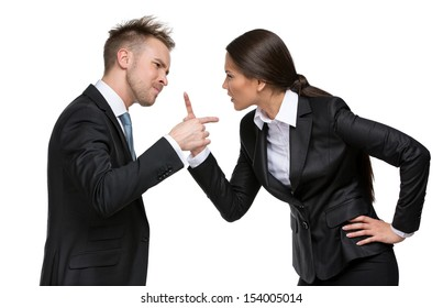 Two businesspeople debate, isolated. Concept of competition and job competitive promotion