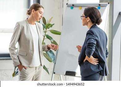 two businesswomen in formal wear standing near flipchart in office