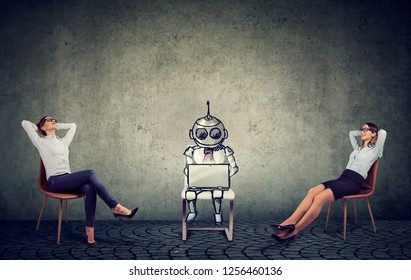 Two businesswomen relaxing enjoying artificial intelligence assistance in company management