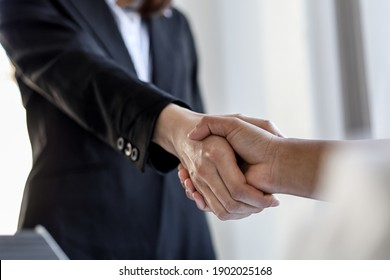 Two businesswomen shake hands after accepting a business proposal together, a handshake is a universal homage, often used in greeting or congratulations.