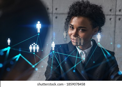 Two businesswomen work together in modern office on new project. Double exposure. Concept of success. Social network theme drawing.